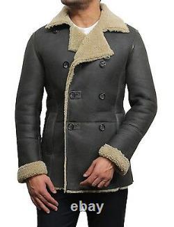 Men Real Shearling Sheepskin Leather Bomber Flight Pilot Jacket Black/Tan/Olive