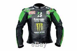 Men/Women MOTORBIKE MOTORCYCLE RACING LEATHER Jacket Black and Green