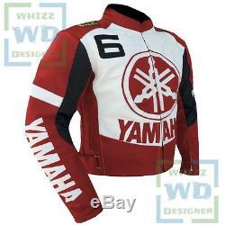 Men YAMAHA 6 Motorbike Armoured Biker Racing Coat. RED LEATHER MOTORCYCLE JACKET
