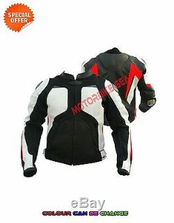Men black and white motorbike jacket biker boys leather jacket motogp bike gears