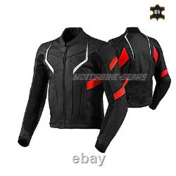 Men black racing leather jacket with red and white lining ce armours bike gear
