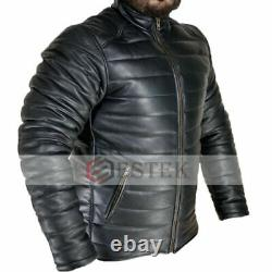 Men's 100% Real Black Lambskin Leather Quilted Zipped Puffer Casual Jacket