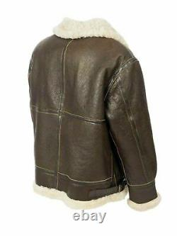 Men's B3 RAF Aviator Real Shearling Brown Sheepskin Leather Flight Bomber Jacket