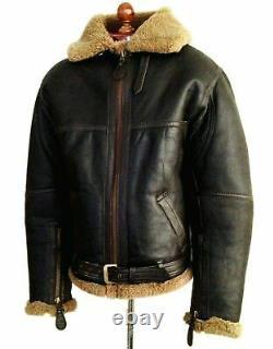 Men's B-3 Shearling Flying Irvin Aviator Bomber Fur Sheepskin Leather Jacket