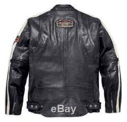 Men's Black Cowhide Victoria Lane Harley Davidson Biker Leather Jacket