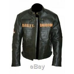 Men's Black Victoria Lane Harley Davidson Biker Leather Jacket