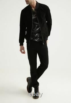 Men's Bomber Flight Suede Black Leather Jacket Slim fit