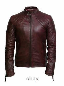 Men's Classic Genuine Leather Vintage Destressed Burgundy/Tan Biker Jacket