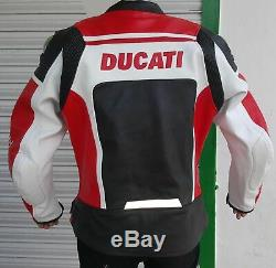 Men's DUCATI Motor-Bike Leather Jacket With Safety Pads Full Protection