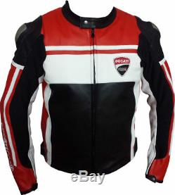 Men's Ducati Corse Leather Motorbike Motorcycle Jacket Race Track Racing Good