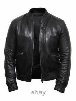 Men's Genuine Leather Vintage Brando Black Bomber Flying Jacket