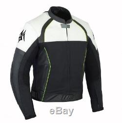 Men's Jacket Real Leather Motorcycle Biker Quilt Lining Removeable Armour Jacket