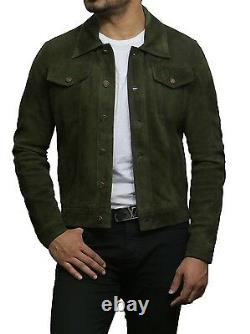 Men's Leather Genuine Goat Sued Distressed Green Motorcycle Jacket