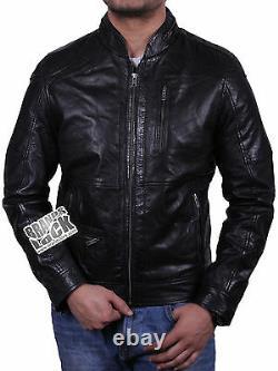 Men's Leather Slim Fit Distressed Vintage Classic Black/Brown Biker Jacket