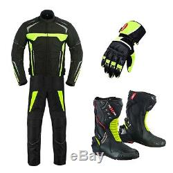 Men's Motorcycle Cordura Waterproof Suit Jacket Pants Motorcycle Leather Shoes
