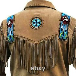 Men's Native American Suede Leather Jacket With Fringes Eagle Brown Mountain