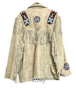 Men's Native American Western Jacket Suede Leather Fringes & Beads Work Coat