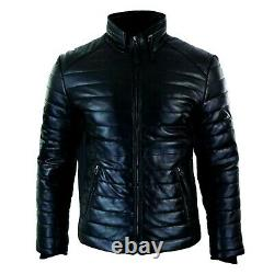 Men's Original Lambskin Leather Puffer/Quilted Jacket Zipped Casual 2021