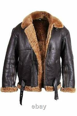 Men's RAF 100% Real Brown Sheepskin Shearling Flying Leather Jackets All Sizes