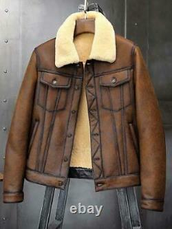 Men's RAF Aviator Flight A-381 Real Leather Jacket Bomber B3 Cow Hide Skin