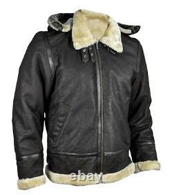Men's RAF Flight Aviator Sheepskin Fur Shearling B3 Bomber Real Leather Jacket