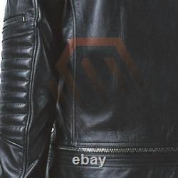 Men's Real Black Lambskin Leather Biker Distressed Slim Fit Motorbike Jacket