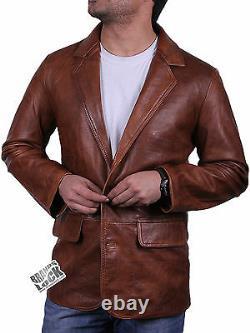 Men's Real Leather Casual Design Smart Vintage Black/Brown/Tan Blazer Jacket