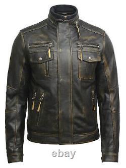 Men's Real Leather Vintage Double Zipper Distressed Black/Brown Biker Jacket