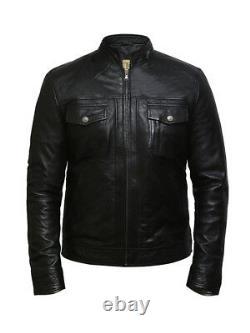 Men's Real Leather Vintage Retro Slim Fit Grandad Collar Black Biker Jacket
