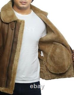 Men's Real Shearling Sheepskin Leather Jacket Vintage Brown Ricardo Coat