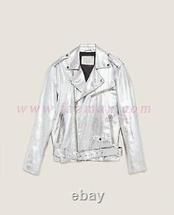 Men's SILVER MOTOR BIKER Genuine SHEEP Leather Jacket Lambskin Slim Fit