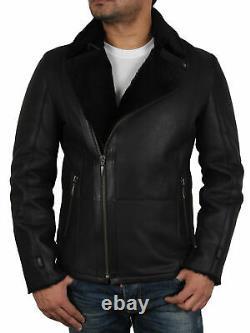 Men's Sheepskin Leather Aviator Flying Pilot Blazer Reefer Black/Brown Jacket