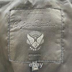 Men's Superdry Leather Biker Jacket- Large