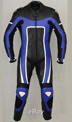Mens 1 Piece Blue & Black Motorbike / Motorcycle Leather Suit / Jacket