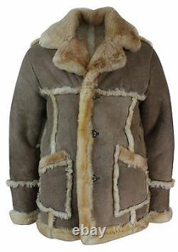 Mens Beige Cream Brown Original Del Boy 3/4 Real Sheepskin Jacket Vintage Retro