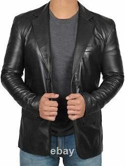 Mens Black Blazer 100% Real Leather Classic Stylish Leather Blazer Coat Jacket