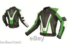 Mens Black CE Armoured Leather Motorbike / Motorcycle Racing Jacket Biker Style