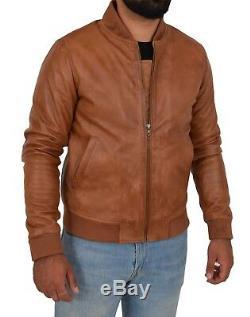 Mens Bomber Soft Cognac Leather Jacket Classic Varsity Slim Fit College Boy Coat
