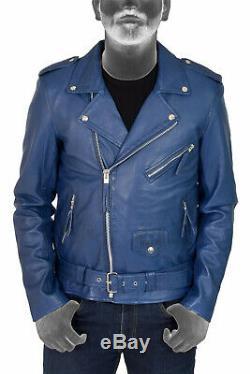 Mens Brando Biker Leather Jacket Blue