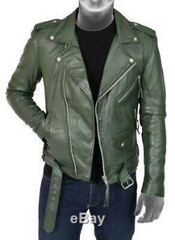 Mens Brando Biker Leather Jacket Green
