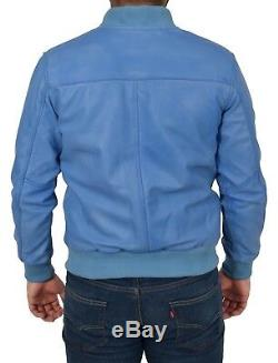 Mens Classic Bomber Leather Jacket Designer College Boy Varsity Sky Blue