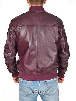 Mens Classic Fitted Bomber Leather Jacket Designer College Boy Varsity Burgundy