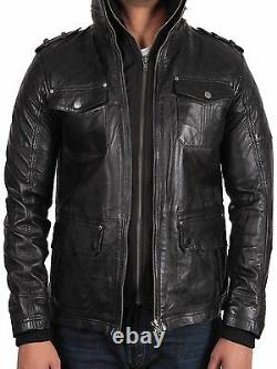 Mens Genuine Leather Casual Fitted Classic Black/Brown Bomber Jacket