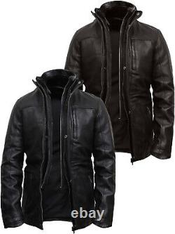 Mens Genuine Leather Classic Vintage Black/Brown Long Coat Style Biker Jacket