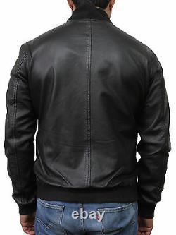 Mens Genuine Leather Distressed Slim Fit Retro Black/Brown Bomber Jacket