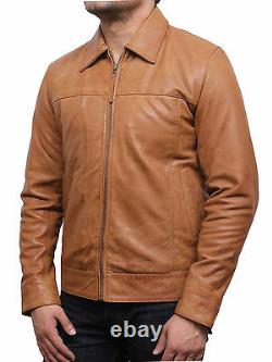 Mens Genuine Leather Motorbike jacket Classic Vintage Harrington Black/Tan/Olive