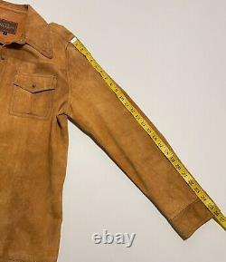 Mens Genuine Leather Orange Suede Vintage Cowboy Western Jacket, Hand Made