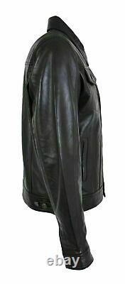 Mens Genuine Leather Trucker Jacket American Western Denim Levis Style Coat Cuir