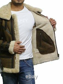 Mens Genuine Shearling Sheepskin Leather Bomber Flying Jacket Distressed Brown