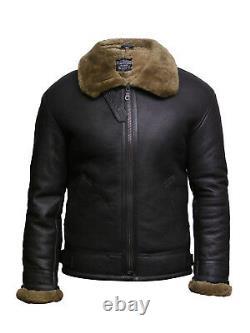 Mens Genuine Shearling Sheepskin Leather Jacket World War 2 Flying Pilot B3